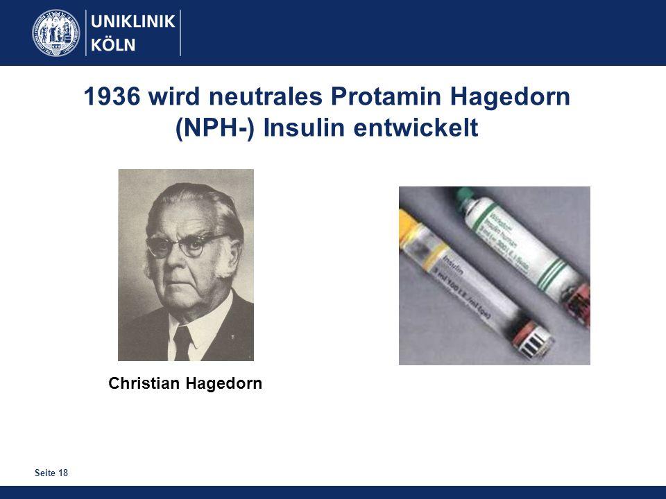 Seite 18 Christian Hagedorn 1936 wird neutrales Protamin Hagedorn (NPH-) Insulin entwickelt