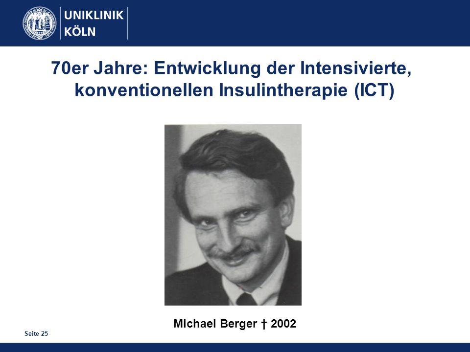 Seite 25 Michael Berger 2002 70er Jahre: Entwicklung der Intensivierte, konventionellen Insulintherapie (ICT)