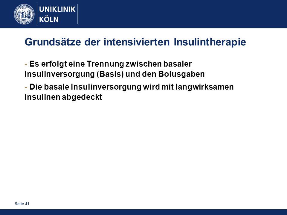 Seite 41 Grundsätze der intensivierten Insulintherapie - Es erfolgt eine Trennung zwischen basaler Insulinversorgung (Basis) und den Bolusgaben - Die