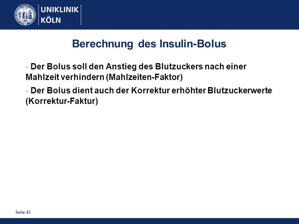 Seite 43 Berechnung des Insulin-Bolus - Der Bolus soll den Anstieg des Blutzuckers nach einer Mahlzeit verhindern (Mahlzeiten-Faktor) - Der Bolus dien