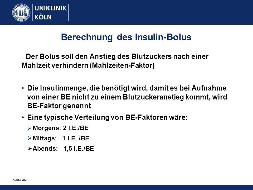 Seite 46 Berechnung des Insulin-Bolus - Der Bolus soll den Anstieg des Blutzuckers nach einer Mahlzeit verhindern (Mahlzeiten-Faktor) Die Insulinmenge