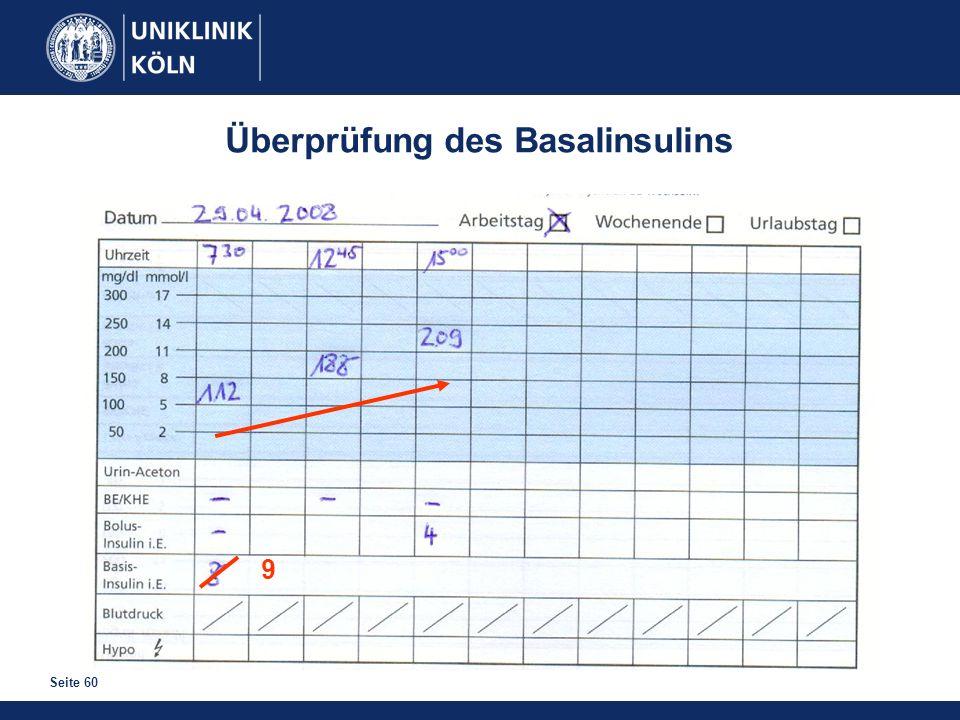 Seite 60 Überprüfung des Basalinsulins 9