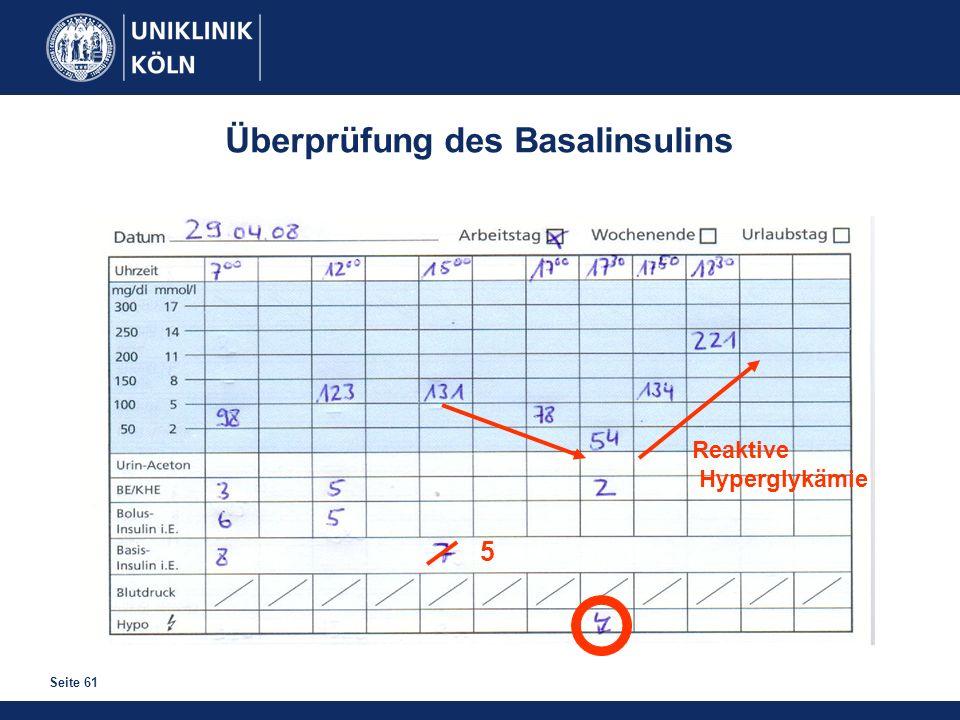 Seite 61 Überprüfung des Basalinsulins 5 Reaktive Hyperglykämie