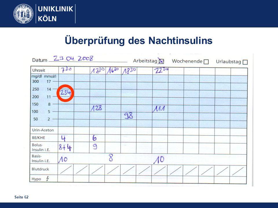 Seite 62 Überprüfung des Nachtinsulins