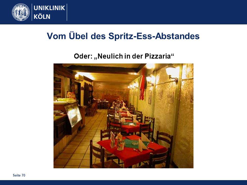 Seite 70 Vom Übel des Spritz-Ess-Abstandes Oder: Neulich in der Pizzaria