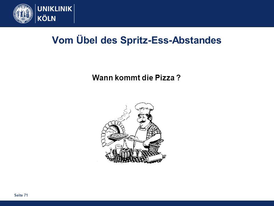Seite 71 Vom Übel des Spritz-Ess-Abstandes Wann kommt die Pizza ?