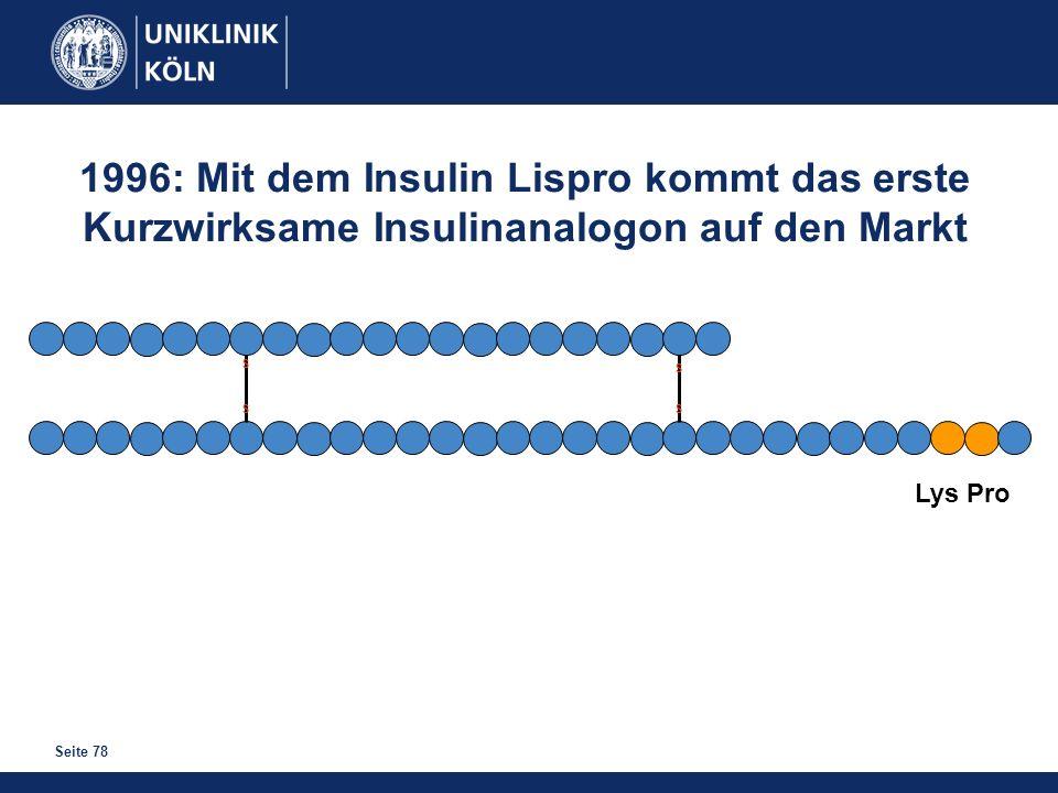 Seite 78 S S S S 1996: Mit dem Insulin Lispro kommt das erste Kurzwirksame Insulinanalogon auf den Markt Lys Pro
