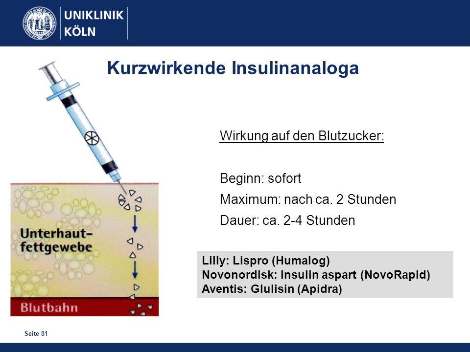 Seite 81 Kurzwirkende Insulinanaloga Wirkung auf den Blutzucker: Beginn: sofort Maximum: nach ca. 2 Stunden Dauer: ca. 2-4 Stunden Lilly: Lispro (Huma
