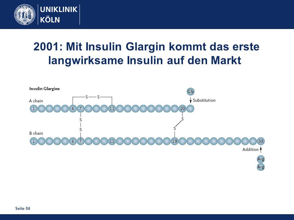 Seite 84 2001: Mit Insulin Glargin kommt das erste langwirksame Insulin auf den Markt