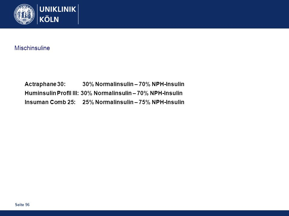 Seite 96 Mischinsuline Actraphane 30: 30% Normalinsulin – 70% NPH-Insulin Huminsulin Profll III: 30% Normalinsulin – 70% NPH-Insulin Insuman Comb 25:2
