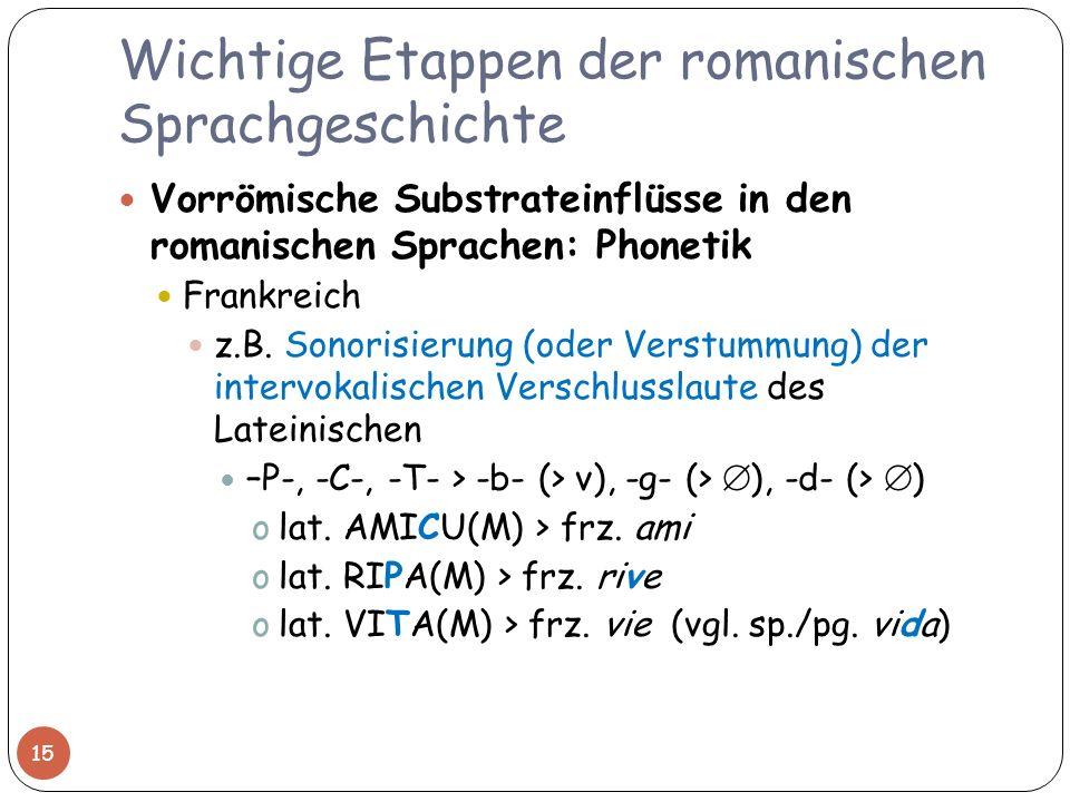 Wichtige Etappen der romanischen Sprachgeschichte Vorrömische Substrateinflüsse in den romanischen Sprachen: Phonetik Frankreich z.B. Sonorisierung (o