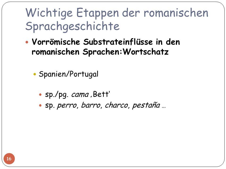Wichtige Etappen der romanischen Sprachgeschichte Vorrömische Substrateinflüsse in den romanischen Sprachen:Wortschatz Spanien/Portugal sp./pg. cama B