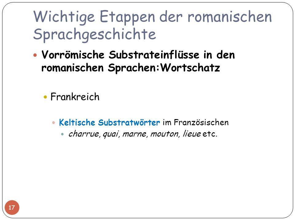 Wichtige Etappen der romanischen Sprachgeschichte Vorrömische Substrateinflüsse in den romanischen Sprachen:Wortschatz Frankreich Keltische Substratwö
