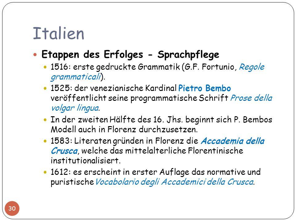 Italien 30 Etappen des Erfolges - Sprachpflege 1516: erste gedruckte Grammatik (G.F. Fortunio, Regole grammaticali). 1525: der venezianische Kardinal