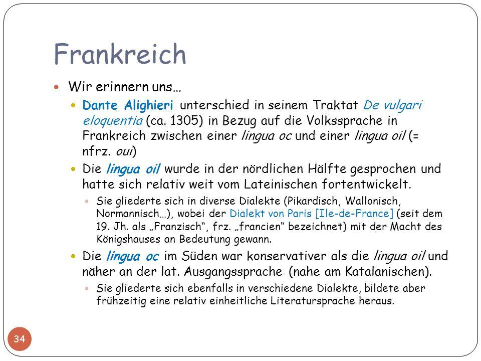 Frankreich Wir erinnern uns… Dante Alighieri unterschied in seinem Traktat De vulgari eloquentia (ca. 1305) in Bezug auf die Volkssprache in Frankreic