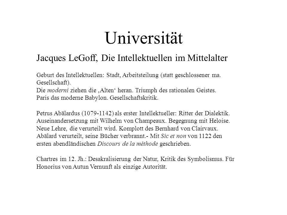 Jacques LeGoff, Die Intellektuellen im Mittelalter Geburt des Intellektuellen: Stadt, Arbeitsteilung (statt geschlossener ma. Gesellschaft). Die moder
