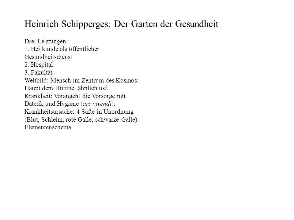 Heinrich Schipperges: Der Garten der Gesundheit Drei Leistungen: 1. Heilkunde als öffentlicher Gesundheitsdienst 2. Hospital 3. Fakultät Weltbild: Men