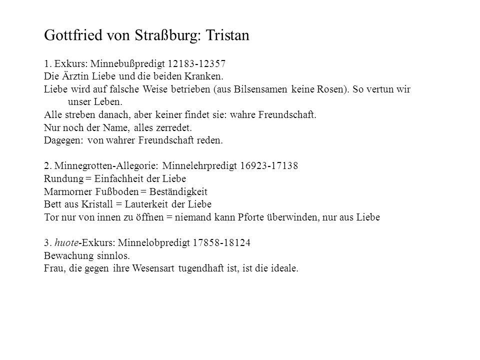 Gottfried von Straßburg: Tristan 1. Exkurs: Minnebußpredigt 12183-12357 Die Ärztin Liebe und die beiden Kranken. Liebe wird auf falsche Weise betriebe