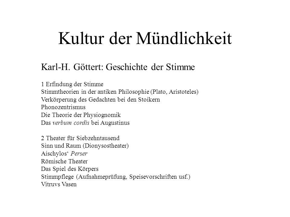 Kultur der Mündlichkeit Karl-H. Göttert: Geschichte der Stimme 1 Erfindung der Stimme Stimmtheorien in der antiken Philosophie (Plato, Aristoteles) Ve