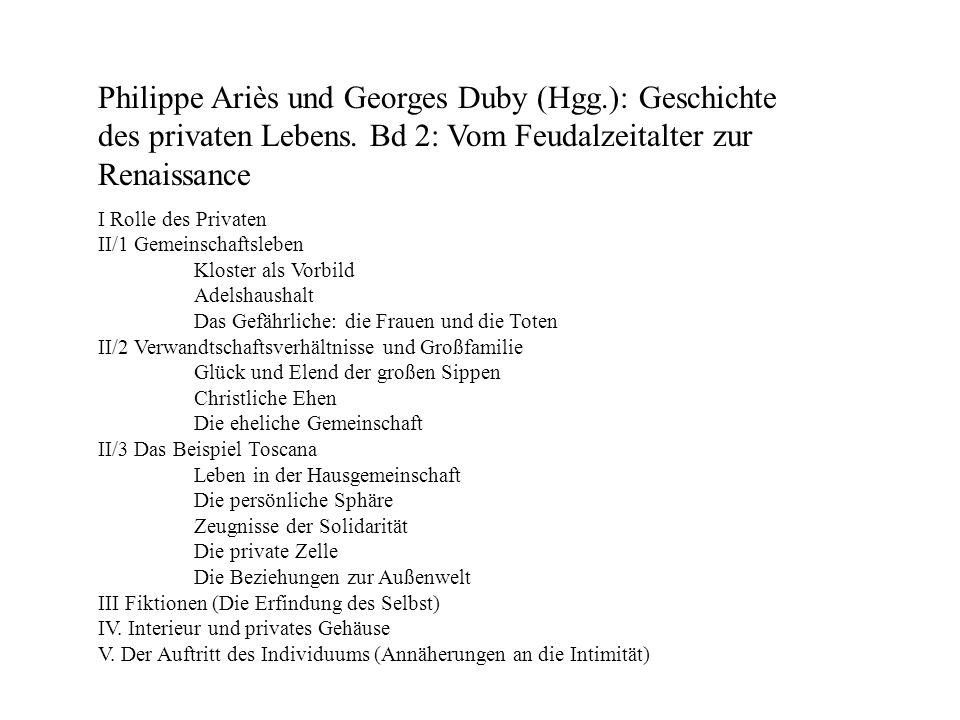 Philippe Ariès und Georges Duby (Hgg.): Geschichte des privaten Lebens. Bd 2: Vom Feudalzeitalter zur Renaissance I Rolle des Privaten II/1 Gemeinscha