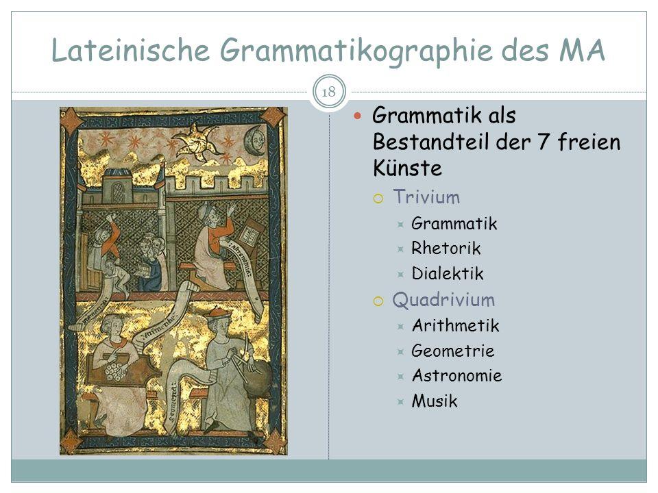 Lateinische Grammatikographie des MA 18 Grammatik als Bestandteil der 7 freien Künste Trivium Grammatik Rhetorik Dialektik Quadrivium Arithmetik Geome