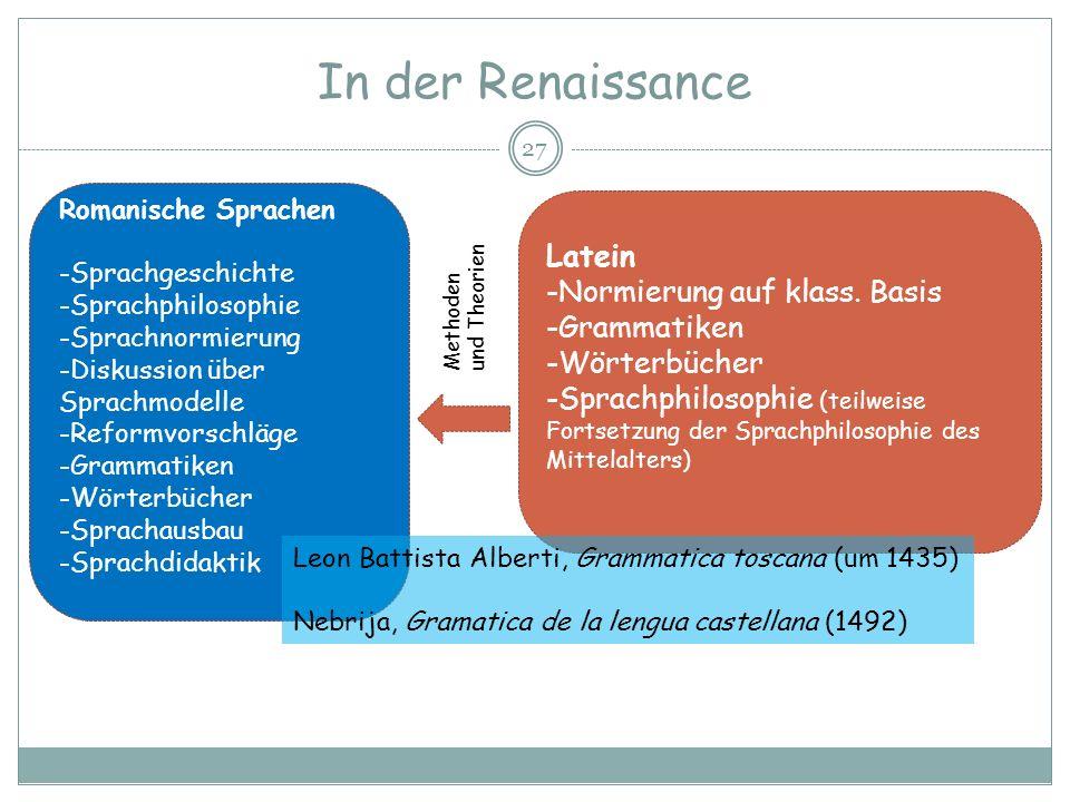 In der Renaissance 27 Romanische Sprachen -Sprachgeschichte -Sprachphilosophie -Sprachnormierung -Diskussion über Sprachmodelle -Reformvorschläge -Gra