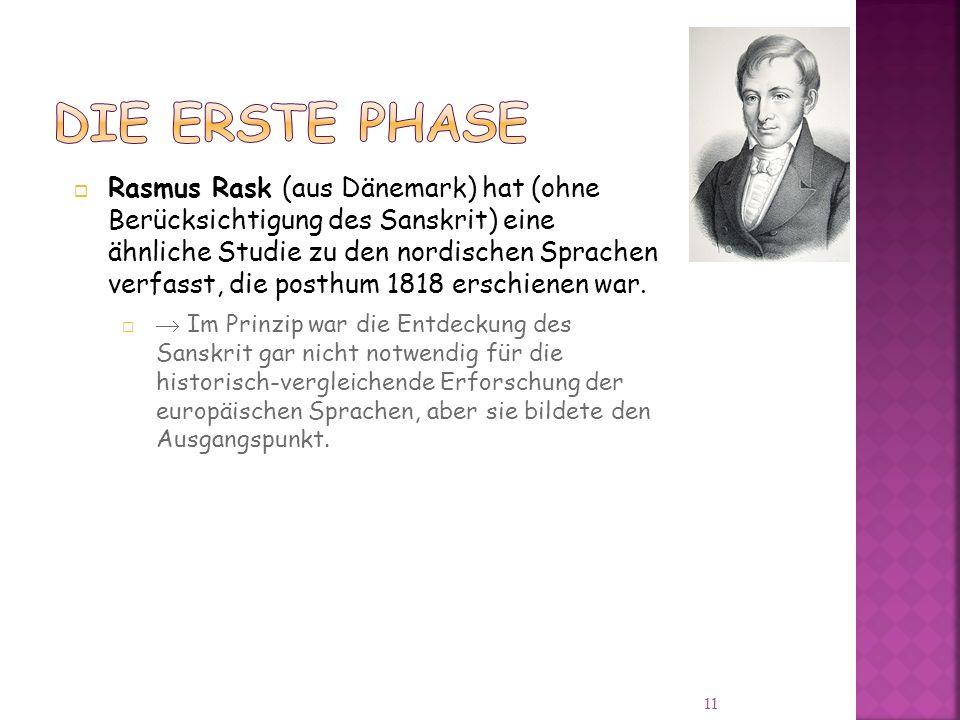 Rasmus Rask (aus Dänemark) hat (ohne Berücksichtigung des Sanskrit) eine ähnliche Studie zu den nordischen Sprachen verfasst, die posthum 1818 erschienen war.