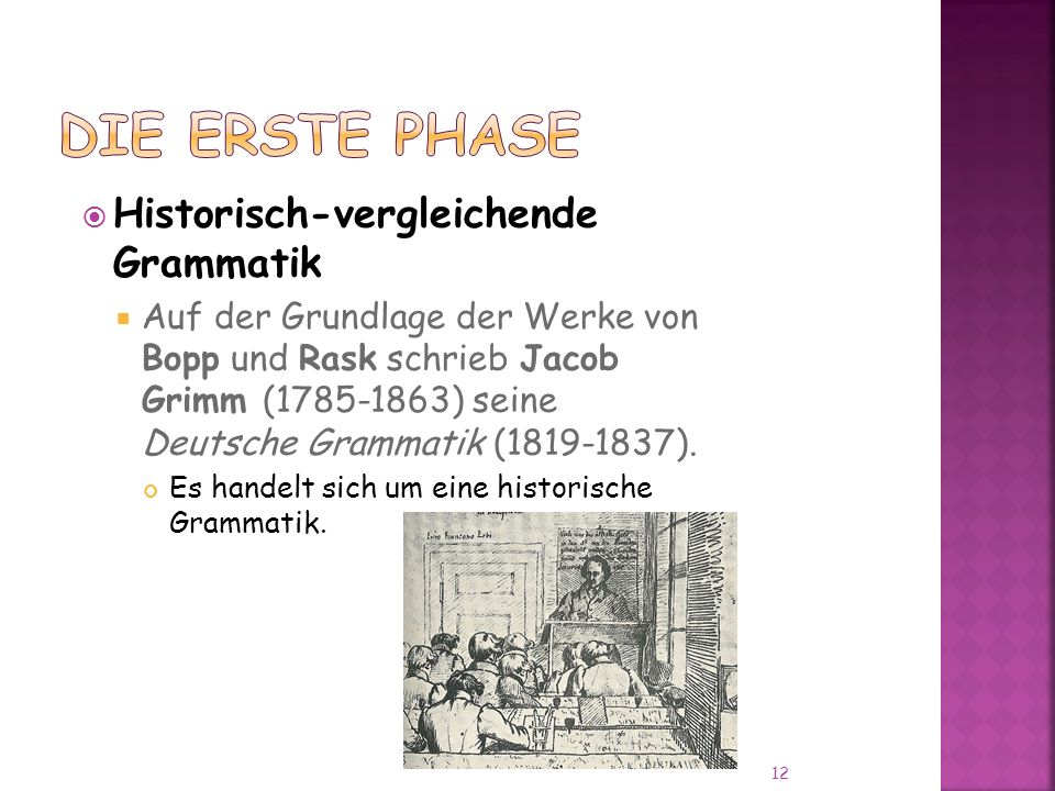 Historisch-vergleichende Grammatik Auf der Grundlage der Werke von Bopp und Rask schrieb Jacob Grimm (1785-1863) seine Deutsche Grammatik (1819-1837).