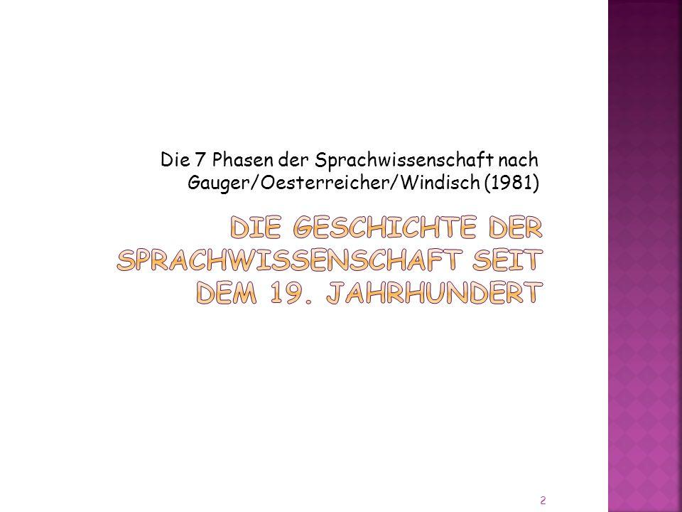 Die 7 Phasen der Sprachwissenschaft nach Gauger/Oesterreicher/Windisch (1981) 2
