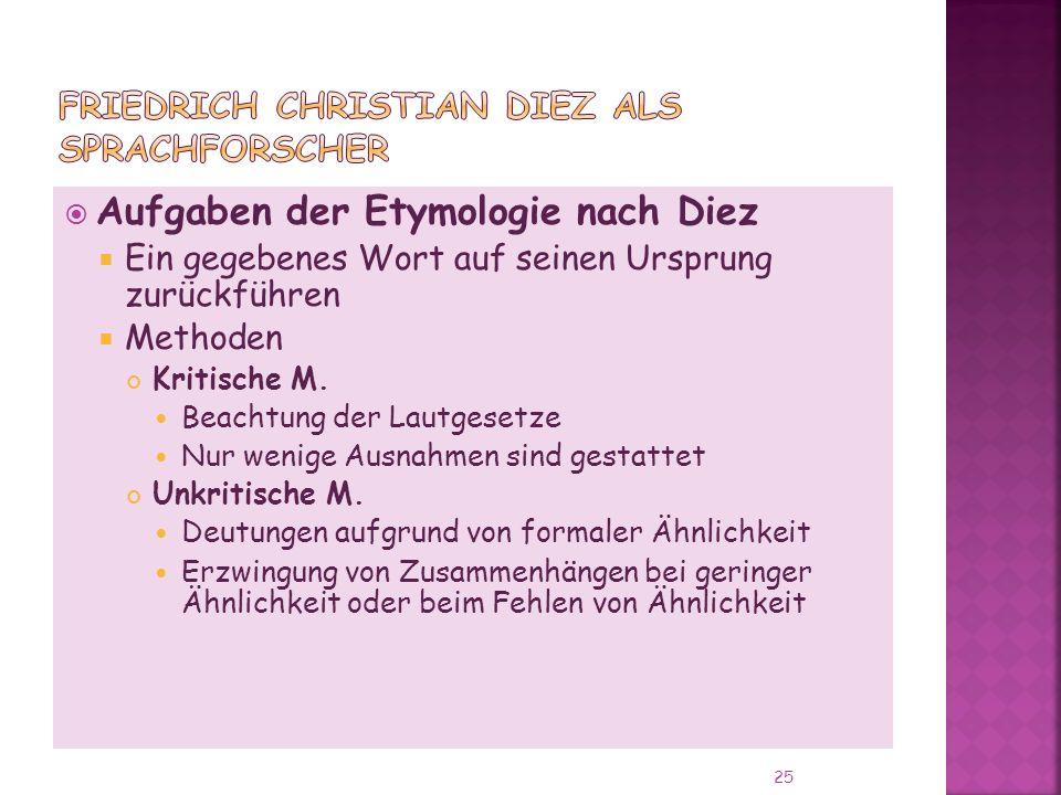Aufgaben der Etymologie nach Diez Ein gegebenes Wort auf seinen Ursprung zurückführen Methoden Kritische M.