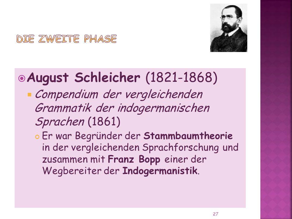 August Schleicher (1821-1868) Compendium der vergleichenden Grammatik der indogermanischen Sprachen (1861) Er war Begründer der Stammbaumtheorie in der vergleichenden Sprachforschung und zusammen mit Franz Bopp einer der Wegbereiter der Indogermanistik.