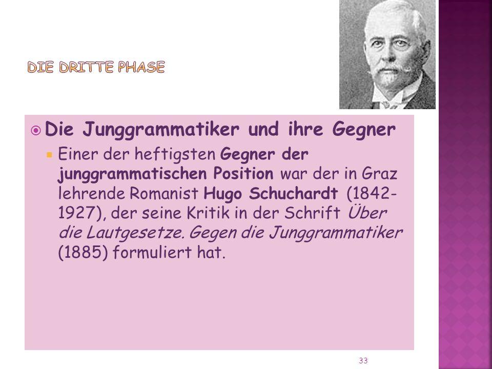 Die Junggrammatiker und ihre Gegner Einer der heftigsten Gegner der junggrammatischen Position war der in Graz lehrende Romanist Hugo Schuchardt (1842- 1927), der seine Kritik in der Schrift Über die Lautgesetze.