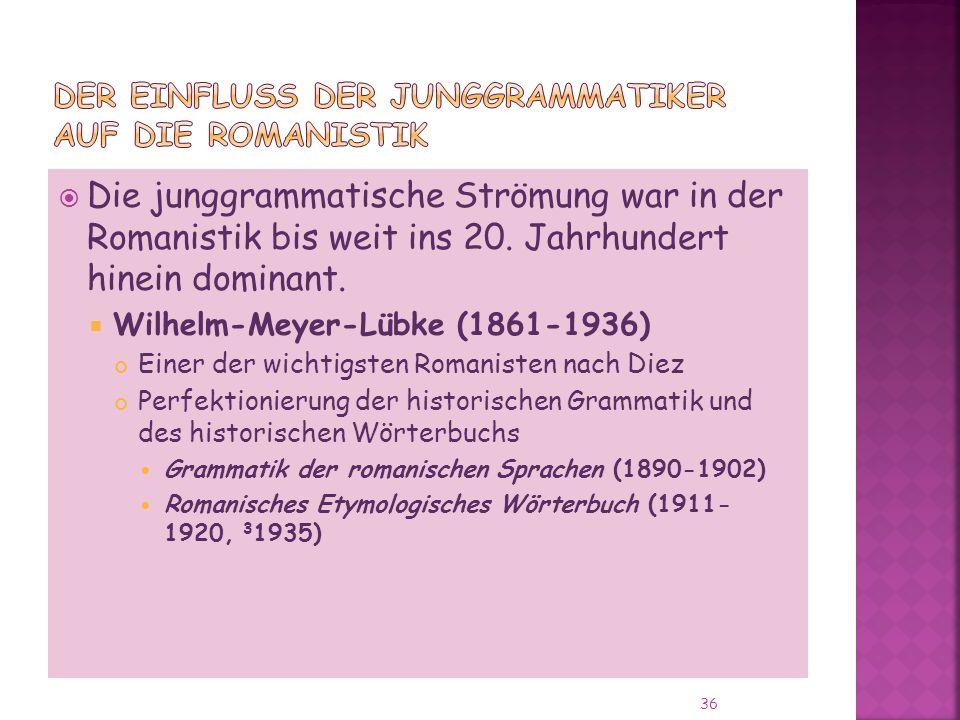 Die junggrammatische Strömung war in der Romanistik bis weit ins 20.