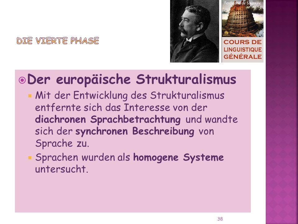 Der europäische Strukturalismus Mit der Entwicklung des Strukturalismus entfernte sich das Interesse von der diachronen Sprachbetrachtung und wandte sich der synchronen Beschreibung von Sprache zu.