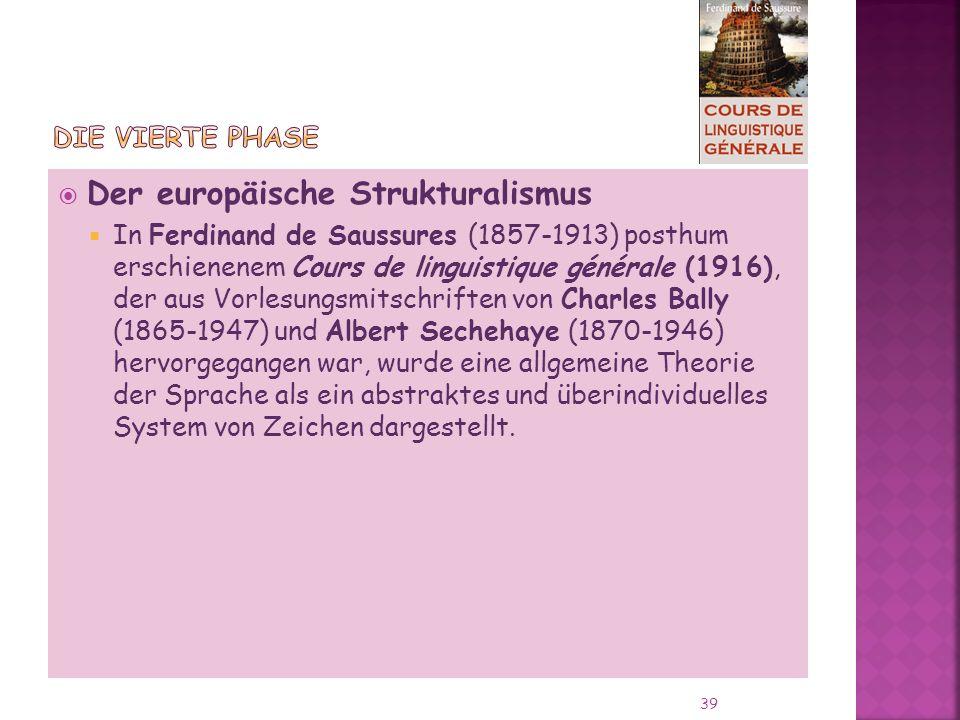 Der europäische Strukturalismus In Ferdinand de Saussures (1857-1913) posthum erschienenem Cours de linguistique générale (1916), der aus Vorlesungsmitschriften von Charles Bally (1865-1947) und Albert Sechehaye (1870-1946) hervorgegangen war, wurde eine allgemeine Theorie der Sprache als ein abstraktes und überindividuelles System von Zeichen dargestellt.
