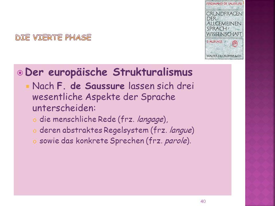 Der europäische Strukturalismus Nach F.
