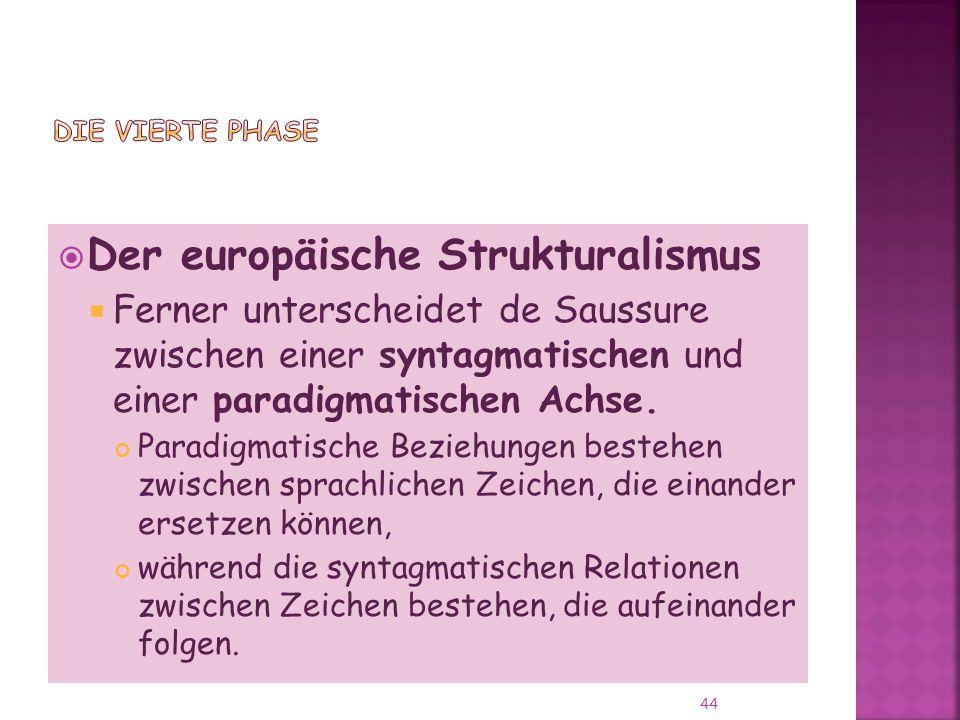 Der europäische Strukturalismus Ferner unterscheidet de Saussure zwischen einer syntagmatischen und einer paradigmatischen Achse.