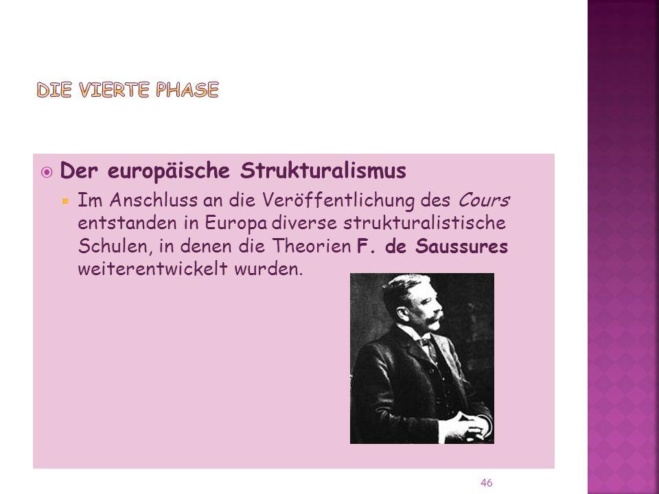 Der europäische Strukturalismus Im Anschluss an die Veröffentlichung des Cours entstanden in Europa diverse strukturalistische Schulen, in denen die Theorien F.