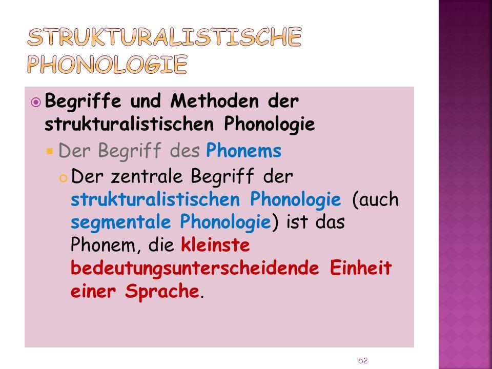 52 Begriffe und Methoden der strukturalistischen Phonologie Der Begriff des Phonems Der zentrale Begriff der strukturalistischen Phonologie (auch segmentale Phonologie) ist das Phonem, die kleinste bedeutungsunterscheidende Einheit einer Sprache.