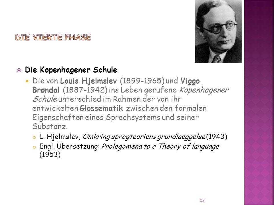 Die Kopenhagener Schule Die von Louis Hjelmslev (1899-1965) und Viggo Brøndal (1887-1942) ins Leben gerufene Kopenhagener Schule unterschied im Rahmen der von ihr entwickelten Glossematik zwischen den formalen Eigenschaften eines Sprachsystems und seiner Substanz.