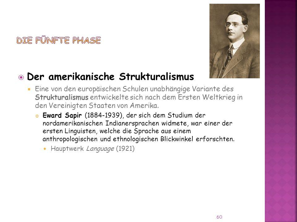 Der amerikanische Strukturalismus Eine von den europäischen Schulen unabhängige Variante des Strukturalismus entwickelte sich nach dem Ersten Weltkrieg in den Vereinigten Staaten von Amerika.