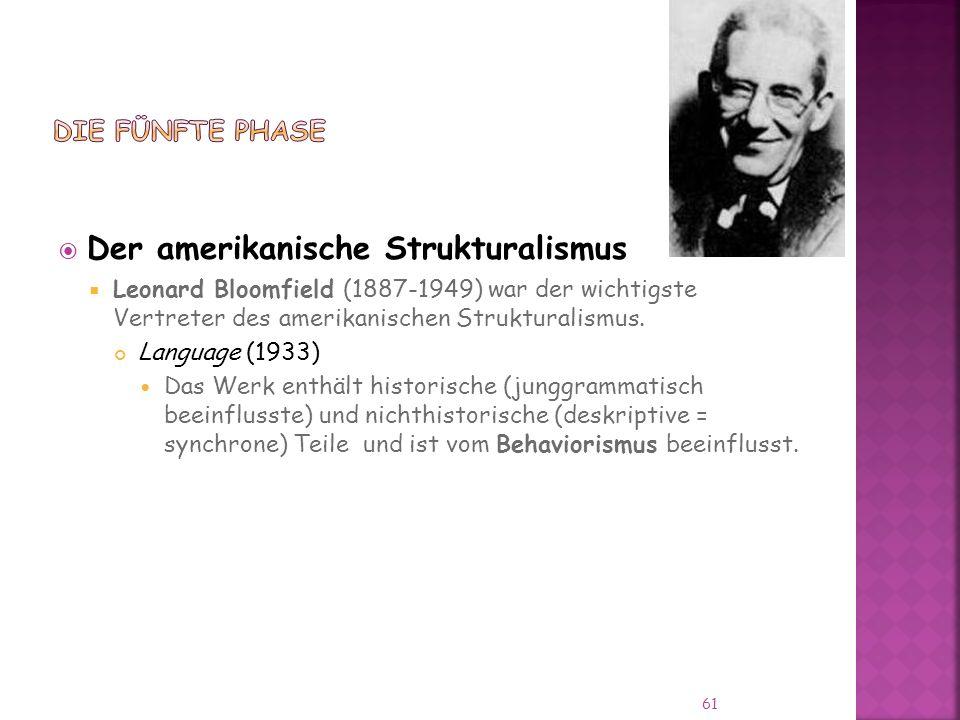 Der amerikanische Strukturalismus Leonard Bloomfield (1887-1949) war der wichtigste Vertreter des amerikanischen Strukturalismus.
