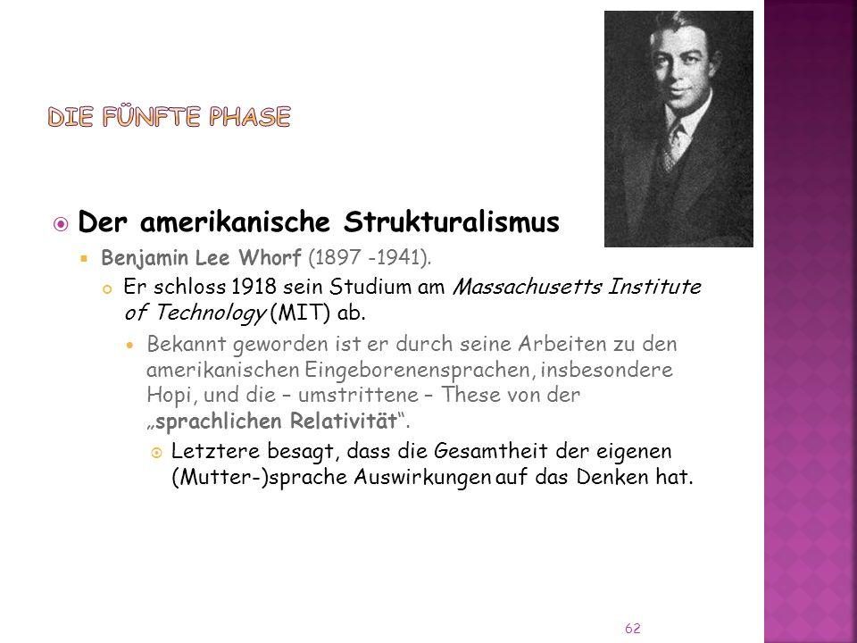 Der amerikanische Strukturalismus Benjamin Lee Whorf (1897 -1941).