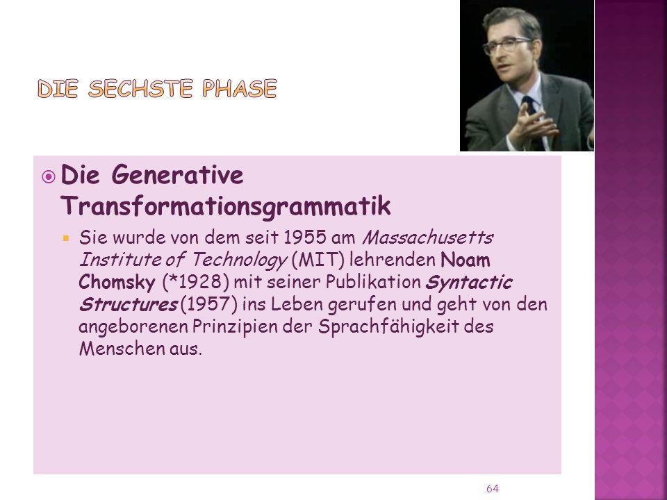 Die Generative Transformationsgrammatik Sie wurde von dem seit 1955 am Massachusetts Institute of Technology (MIT) lehrenden Noam Chomsky (*1928) mit seiner Publikation Syntactic Structures (1957) ins Leben gerufen und geht von den angeborenen Prinzipien der Sprachfähigkeit des Menschen aus.