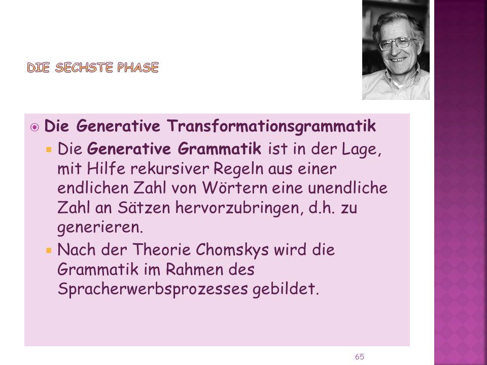 Die Generative Transformationsgrammatik Die Generative Grammatik ist in der Lage, mit Hilfe rekursiver Regeln aus einer endlichen Zahl von Wörtern eine unendliche Zahl an Sätzen hervorzubringen, d.h.