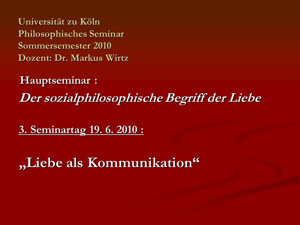 Lektüreprogramm: Luhmann, Niklas: Liebe.Eine Übung.