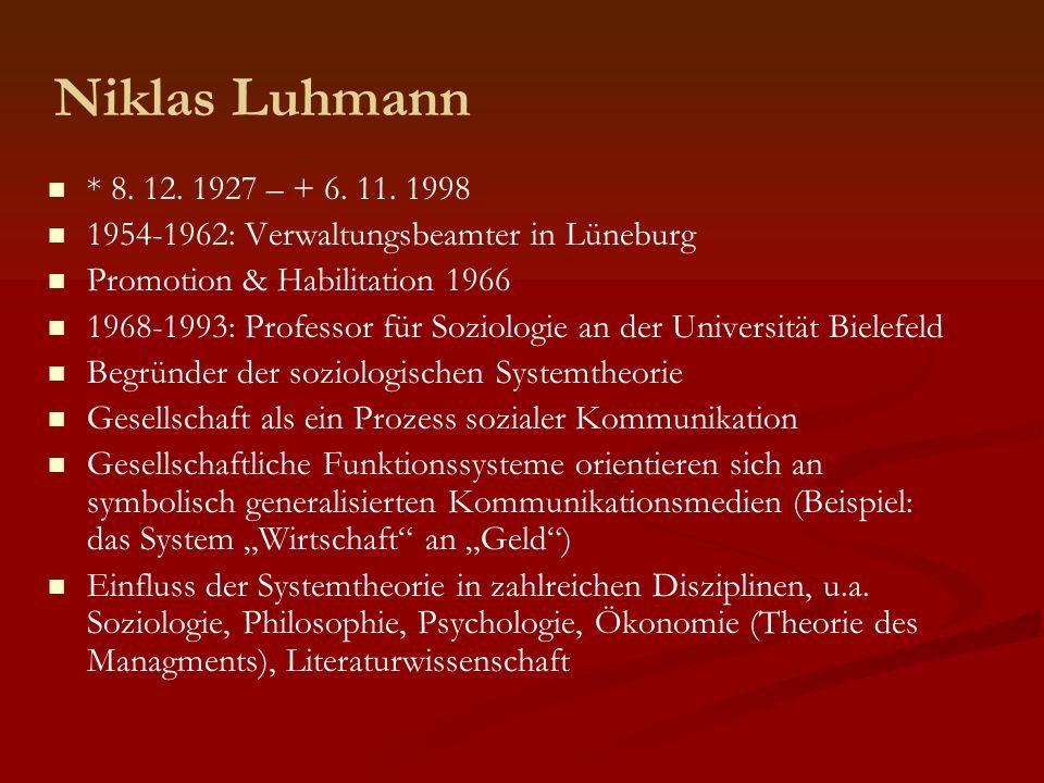 Niklas Luhmann * 8. 12. 1927 – + 6. 11. 1998 1954-1962: Verwaltungsbeamter in Lüneburg Promotion & Habilitation 1966 1968-1993: Professor für Soziolog
