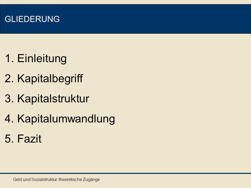 Geld und Sozialstruktur: theoretische Zugänge GLIEDERUNG 1.Einleitung 2.Kapitalbegriff 3.Kapitalstruktur 4.Kapitalumwandlung 5.Fazit