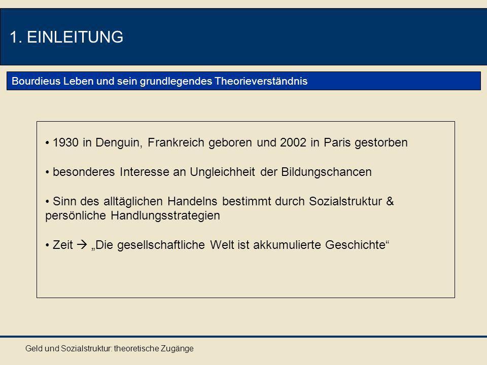 Geld und Sozialstruktur: theoretische Zugänge 1.