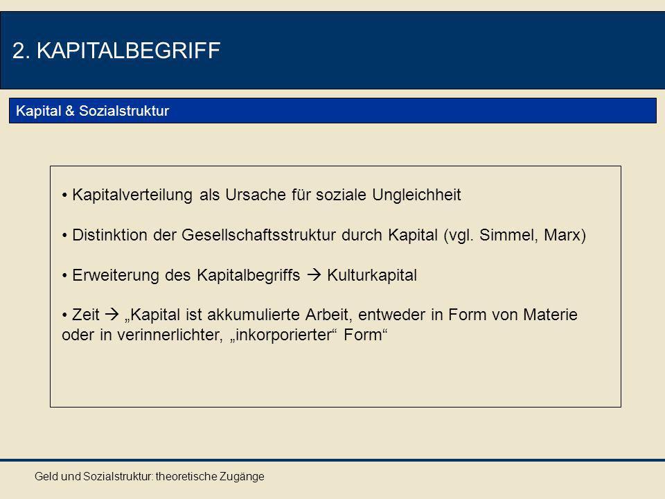 Geld und Sozialstruktur: theoretische Zugänge 2.